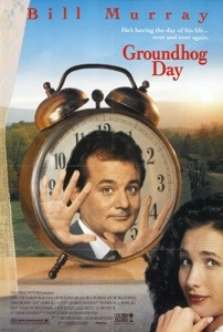 Classic Groundhog Day poster featuring Bill Murray stuck in time. And Andie MacDowell's face.